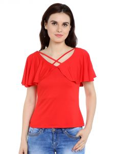 Tarama Viscose Spandex Fabric Tomato Red Color Regular Fit Top For Women-a2 Tdt1308c