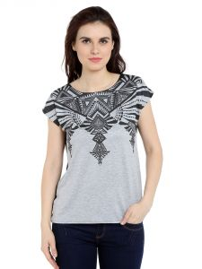 Tarama Viscose Spandex Fabric Grey Melange Color Relaxed Fit Top For Women-a2 Tdt1309a