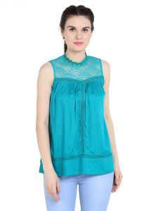 Tarama Rayon Fabric Teal Color Relaxed Fit Top For Women-a2 Tdt1320a