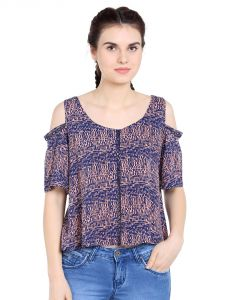 Tarama Rayon Fabric Multicolor Regular Fit Top For Women-a2 Tdt1322b