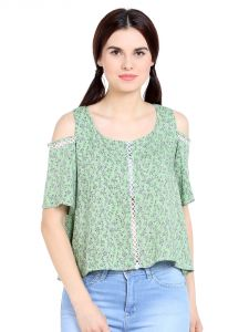 Tarama Rayon Fabric Green Color Regular Fit Top For Women-a2 Tdt1322c