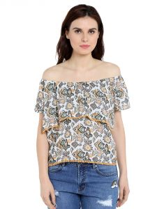 Tarama Rayon Fabric Off White Color Relaxed Fit Top For Women-a2 Tdt1325c