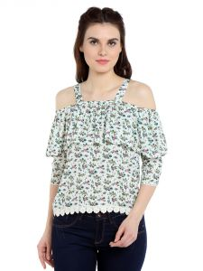 Tarama Rayon Fabric Multicolor Regular Fit Top For Women-a2 Tdt1326a