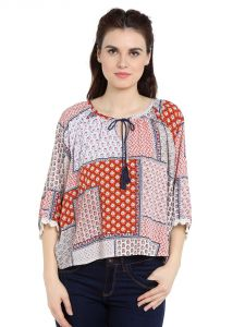 Tarama Rayon Fabric Multicolor Relaxed Fit Top For Women-a2 Tdt1327a