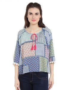 Tarama Rayon Fabric Multicolor Relaxed Fit Top For Women-a2 Tdt1327b