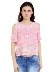 Tarama Cotton Poly Blend Fabric Pink Color Relaxed Fit Top For Women-a2 Tdt1328