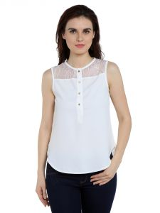 Tarama Polyester Fabric Off White Color Regular Fit Top For Women-a2 Tdt1348