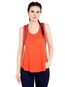 Tarama Viscose Fabric Orange Color Regular Fit Top For Women-a2 Tdt1350a