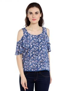 Tarama Rayon Fabric Blue Color Regular Fit Top For Women-a2 Tdt1360c