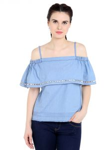 Tarama Cotton Fabric Mid Blue Color Regular Fit Top For Women-a2 Tdt1367
