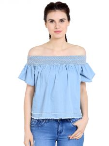 Tarama Cotton Fabric Light Blue Color Regular Fit Top For Women-a2 Tdt1370