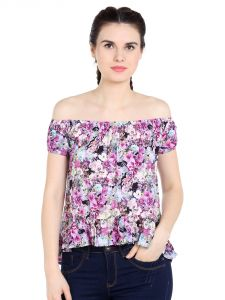 Tarama Rayon Fabric Multicolor Relaxed Fit Top For Women-a2 Tdt1379