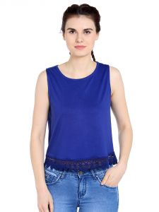 Tarama Viscose Fabric Royal Blue Color Regular Fit Top For Women-a2 Tdt1380