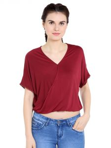Tarama Viscose Spandex Fabric Maroon Color Relaxed Fit Top For Women-a2 Tdt1381a
