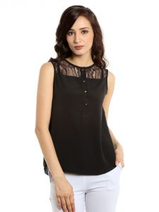 Tarama Polyester Fabric Black Color Regular Fit Top For Women-a2 Tdt1384