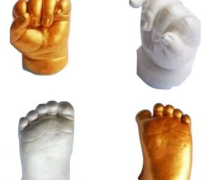 My Impression Studio Junior Baby 3d Hands And Feet Casting Kit With White And Metallic Gold Color Paint