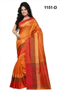 Cotton Sarees - Mahadev Enterprises Gold Cotton Silk Saree With Blouse Rjm1151d