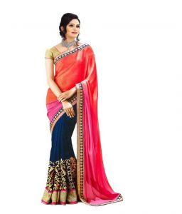 Kalazone Women's Clothing - Kalazone Multi Color Faux Georgette Party Wear Saree - (product Code - S11686_s3)