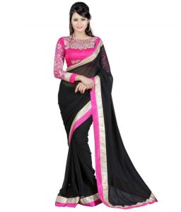 Kalazone Georgette Sarees - Kalazone Black Faux Georgette Party Wear Saree - (product Code - S11968_s3)