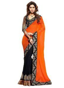 Kalazone Chiffon Sarees - Vellora Half And Half Chiffon Saree With Embroidery Work