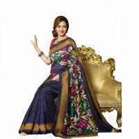 Kalazone Silk Sarees - Isha Deol Blue Bhagalpuri Saree By Vamika
