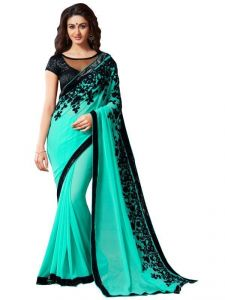 Designer Sarees - Manthan See Green Embroidered Saree Mnt2mtr1807