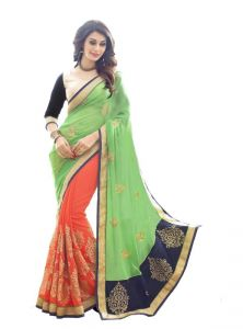 Tng Sarees (Misc) - Try N Get's Green And Orange Color Georgette Stylish Designer Saree Tng-tz-1016