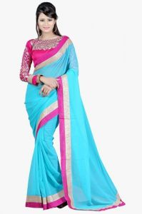 Surat Tex Chiffon Sarees - Surat Tex Sky Blue Color Chiffon Saree With Blouse Piece-g906se11290na