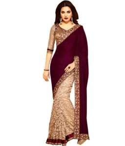 Kalazone Sarees (Misc) - Nilkanth Maroon Embroidered Velvet Saree With Blouse - (product Code - Mf002-0229)