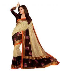 Riti Riwaz Sarees - Riti Riwaz Elegant Bhagalpuri Saree Zari Boarder Aw15bs-sr006
