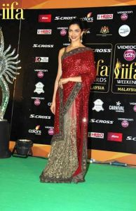 Bollywood replica sarees and lehengas - Bollywood Replica Deepika Padukone Maroon And Light Mehendi Stylish Fancy