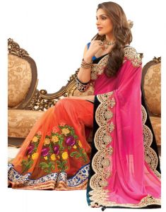 Styloce Sarees - Styloce Pink Color Net Embroidered Party Deasigner Saree With Blouse-(code-sty-8831)