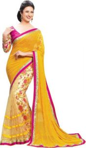 Styloce Georgette Sarees - Styloce Yellow Georgette Saree.sty-9079