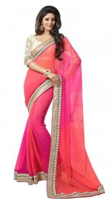 Tng Sarees - Try N Get's Pink Color Chiffon Fancy Designer Saree (product Code - Tng-sjnx-m-04)