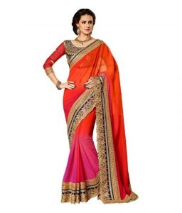 Kalazone Designer Sarees - Pink Cut Work Saree With Blouse Piece