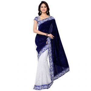 Florence Sarees (Misc) - Florence Blue With White Velvet Embroidered Saree
