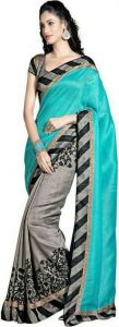 Kalazone Women's Clothing - Smt Grey Bhagalpuri Cotton Art Silk Saree