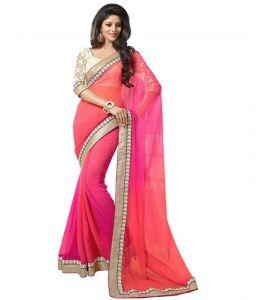 Kalazone Chiffon Sarees - Kasturi Pink & Grey Chiffon Saree With Lace Border And Unstitched Blouse