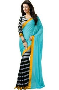 Women's Clothing - Bollywood Replica Shoppingekart Embriodered Fashion Georgette Saree - (code -hans_firozi)
