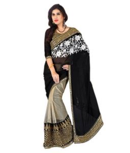 Women's Clothing - Bollywood Replica Shoppingekart Embriodered Fashion Georgette Saree - (code -manya_black)