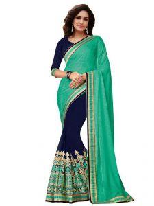 Shonaya Chiffon Sarees - Shonaya Green & Blue Colour Chiffon Jacquard & Net Embroidered Saree With Unstitched Blouse Piece Hift7-4175