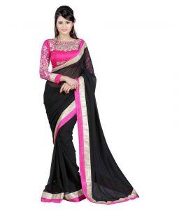 Kalazone Chiffon Sarees - Fabkaz Women Chiffon Black Colour Embroidey Designer Saree - (code - Fks017)