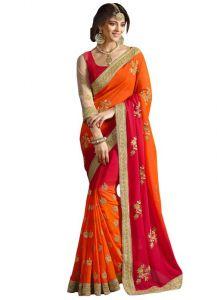 Designer Sarees - Isha Enterprise 60gm Padding Georgette Orange & Red Designer Saree Kfa-1538-a
