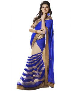 Kalazone Georgette Sarees - Kalazone Blue Faux Georgette Party Wear Saree - (product Code - Wsv34413)
