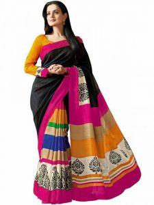 Vishal Women's Clothing - Vishal Fashion Multicolor Bhagalpuri Silk Saree With Blouse - Vf-129