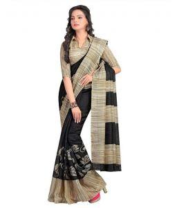 Kalazone Silk Sarees - Kalazone Black Bhagalpuri Art Silk Casual Wear Saree - (product Code - Es1408)