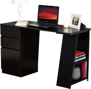 Afydecor Contemporary Rectangular Study Table With Shelves For Open Storage(product Code)_3139