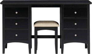 Home Decor & Furnishing - Afydecor Transitional 6 Drawer Vanity Table with Cushioned Stool(Product Code)_3476