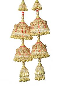 Parecido Designer _ Traditional Wedding Kaleere Set In Golden Color With Red Latkans For Women (pc-wk8)