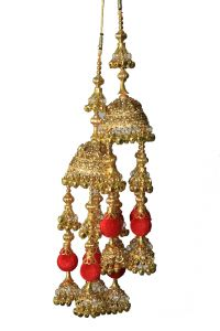 Parecido Designer Traditional Wedding Kaleere Set In Golden Color With Red Latkans For Women (pc-wk7)